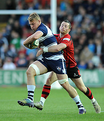 Bristol Rugby's Mitch Eadie is challenged by Jersey Rugby's Ryan Glynn - Photo mandatory by-line: Dougie Allward/JMP - Mobile: 07966 386802 - 17/04/2015 - SPORT - Rugby - Bristol - Ashton Gate - Bristol Rugby v Jersey - Greene King IPA Championship
