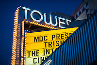 """MIAMI, FL - CIRCA JULY 2012: Sign of Tower Theater in Little Havana circa July 2012 in Miami, during """"cultural fridays"""" an artistic, cultural, and social arts and culture fair that takes place on the last Friday of each month in the historic Little Havana."""