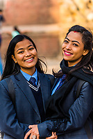 Nepalese girls in school uniform, Durbar Square, Bhaktapur, Kathmandu Valley, Nepal.