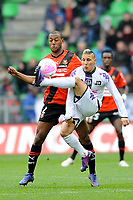 FOOTBALL - FRENCH CHAMPIONSHIP 2011/2012 - L1 - STADE RENNAIS v TOULOUSE FC - 18/03/2012 - PHOTO PASCAL ALLEE / DPPI - ADRIEN REGATTIN (TFC) / KEVIN THEOPHILE CATHERINE (REN)