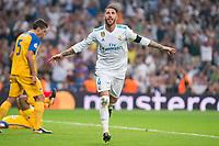 Real Madrid's Sergio Ramos celebrating a goal during UEFA Champions League match between Real Madrid and Apoel at Santiago Bernabeu Stadium in Madrid, Spain September 13, 2017. (ALTERPHOTOS/Borja B.Hojas)