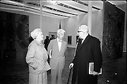 11/11/1967<br /> 11/11/1967<br /> 11 November 1967<br /> Press preview of ROSC 1967 Exhibition at the R.D.S.. Picture shows one of the three jurors of the exhibition, Dr. William Sandberg, Chairman of the Isreal Museum, Jerusalem (centre) and his wife chatting with Mr. H. De Tong of Holland at a preview of the exhibition which officially opened on Sunday 12th.
