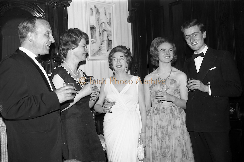 08/05/1964<br /> 05/08/1964<br /> 08 May 1964<br /> Reception and buffet dinner-dance for 5th Annual Tara Cup Rotterdam - Dublin Air Rally given by J.H. Van Anrooy at the Glencormac House Hotel, Co. Wicklow. At the event were (l-r): Mr and Mrs Robert Magnee, Hilversum, Holland; Mrs M.E. Slingsby; Miss Avril Brown and Mr. Timothy Slingsby.