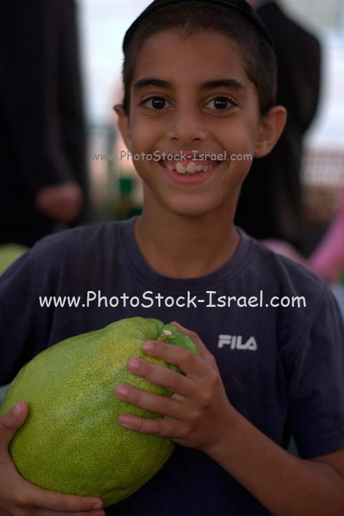 Israel, Bnei Brak, Boy holding a large Ethrog at the Sukkoth 4 species market.