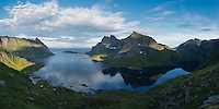 Reflection of mountain peaks in Reinefjord and Forsfjord, Moskenesøy, Lofoten Islands, Norway