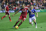 Middlesbrough midfielder Emilio Nsue  tracked by Everton midfielder Leon Osman  during the Capital One Cup match between Middlesbrough and Everton at the Riverside Stadium, Middlesbrough, England on 1 December 2015. Photo by Simon Davies.