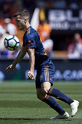 May 20, 2018 - Valencia, Valencia, Spain - Jose Luis Gaya of Valencia CF with the ball during the La Liga game between Valencia CF and Deportivo de la Coruna at Mestalla on May 20, 2018 in Valencia, Spain  (Credit Image: © David Aliaga/NurPhoto via ZUMA Press)