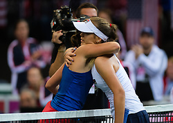 November 10, 2018 - Prague, Czech Republic - Barbora Strycova of the Czech Republic & Sofia Kenin of the United States meet at the net at the 2018 Fed Cup Final between the Czech Republic and the United States of America (Credit Image: © AFP7 via ZUMA Wire)