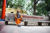 Sadhuji, meditation in a temple near the Ganga