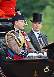 © Licensed to London News Pictures. 14/06/2014. London, UK Prince Edward Earl of Wessex; Prince Andrew Duke of York, Trooping the Colour, Buckingham Palace, London UK, 14 June 2014. Photo credit : Mike Webster/PIQ/LNP
