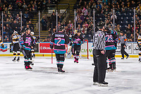 KELOWNA, CANADA - NOVEMBER 3: Liam Kindree #26, Lassi Thomson #2, Leif Mattson #28 and Nolan Foote #29 of the Kelowna Rockets celebrate a goal against the Brandon Wheat Kings on November 3, 2018 at Prospera Place in Kelowna, British Columbia, Canada.  (Photo by Marissa Baecker/Shoot the Breeze)