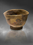 Neolithic terracotta bowl. 6000 BC. Catalhoyuk Collections. Museum of Anatolian Civilisations, Ankara .<br /> <br /> If you prefer you can also buy from our ALAMY PHOTO LIBRARY  Collection visit : https://www.alamy.com/portfolio/paul-williams-funkystock/prehistoric-neolithic-art.html - Type Catalhoyuk into the LOWER SEARCH WITHIN GALLERY box. Refine search by adding background colour, place, museum etc.<br /> <br /> Visit our PREHISTORIC PLACES PHOTO COLLECTIONS for more  photos to download or buy as prints https://funkystock.photoshelter.com/gallery-collection/Prehistoric-Neolithic-Sites-Art-Artefacts-Pictures-Photos/C0000tfxw63zrUT4