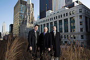 City of Chicago technology trio, left to right, Kevin Hauswirth, left, social media director, John Tolva, chief technology officer, and Brett Goldstein, chief digital officer, photographed on City Hall's green roof in the winter.