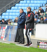 Coventry City manager Tony Mowbray, left and Fleetwood Town manager Steven Pressley, right<br /> <br /> Photographer Andrew Vaughan/CameraSport<br /> <br /> Football - The Football League Sky Bet League One - Coventry City v Fleetwood Town - Saturday 27th February 2016 - Ricoh Stadium - Coventry   <br /> <br /> © CameraSport - 43 Linden Ave. Countesthorpe. Leicester. England. LE8 5PG - Tel: +44 (0) 116 277 4147 - admin@camerasport.com - www.camerasport.com
