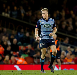 Cardiff Blues' Gareth Anscombe<br /> <br /> Photographer Simon King/Replay Images<br /> <br /> Guinness PRO14 Round 21 - Cardiff Blues v Ospreys - Saturday 28th April 2018 - Principality Stadium - Cardiff<br /> <br /> World Copyright © Replay Images . All rights reserved. info@replayimages.co.uk - http://replayimages.co.uk