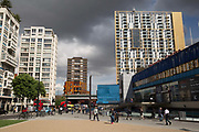 Elephant and Castle in Southwark on 15th June 2016 in South London, United Kingdom. The Elephant and Castle, which coined it's name from a local coaching inn, is an area around a major road junction in South London, England, in the London Borough of Southwark The whole area has been undergoing a master-planned redevelopment estimated at £1.5 billion.