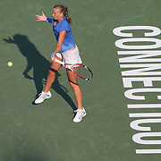 Petra Kvitova, Czech Republic, in action against  Annika Beck, Germany, during the New Haven Tennis Open at Yale,, Connecticut, USA. 20th August 2013. Photo Tim Clayton