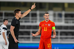 HELSINKI, FINLAND - Thursday, September 3, 2020: Wales' captain Gareth Bale reacts as referee Daniel Siebert disallows a goal during the UEFA Nations League Group Stage League B Group 4 match between Finland and Wales at the Helsingin Olympiastadion. (Pic by Jussi Eskola/Propaganda)