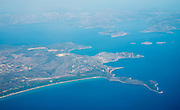Aerial view of a Greek Islands as seen from an aeroplane