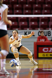 31 OCT 2008: Terri Del Conte heads for the floor to scrap up a dig but the ball hit the floor in front of her during a match in which the Missouri State Bears defeated the Redbirds of Illinois State 3 sets to 2 on Doug Collins Court inside Redbird Arena in Normal Illinois