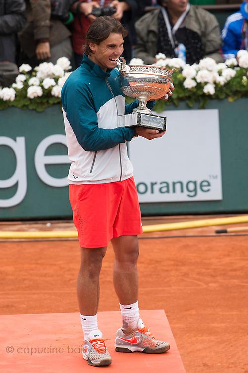 Paris, France. Roland Garros. June 9th 2013.<br /> Men's final. <br /> Spanish player Rafael NADAL wins Roland Garros for the 8th time, against David FERRER