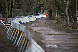 © Licensed to London News Pictures. 01/02/2021. Weybridge, UK. Flood defences installed along the river Thames at Weybridge in Surrey. Extra precautionis being taken because In 2014 Weybridge and the surrounding area was badly hit by flooding. Photo credit: Ben Cawthra/LNP