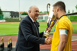 Radenko Mijatovic, president of NZS and Milan Dzajic during celebration of NK Bravo, winning team in 2nd Slovenian Football League in season 2018/19 after they qualified to Prva Liga, on May 26th, 2019, in Stadium ZAK, Ljubljana, Slovenia. Photo by Vid Ponikvar / Sportida
