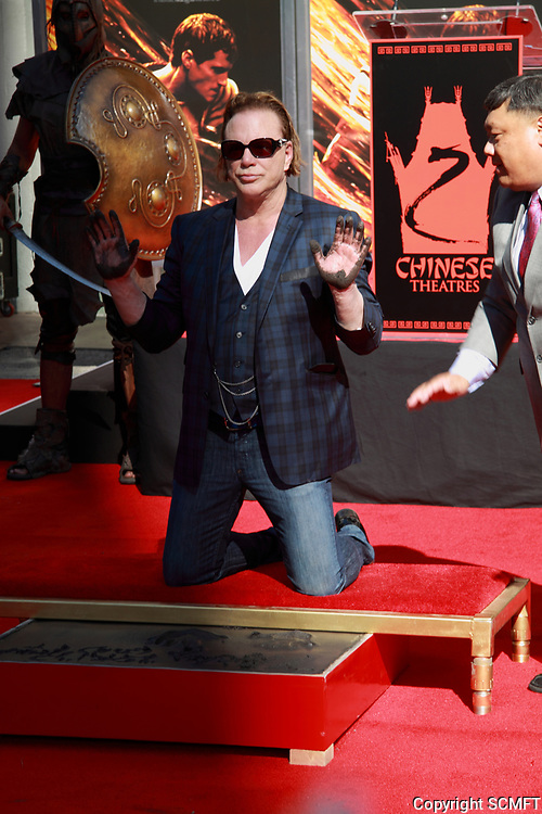 10/30/2011 Mickey Rourke's hand/footprint ceremony at Grauman's Chinese Theater