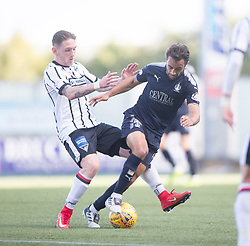 Dunfermline's Declan McManus and Falkirk's Tom Taiwo. half time : Falkirk 1 v 0 Dunfermline, Scottish Challenge Cup played 7/9/2017 at The Falkirk Stadium.