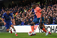 Everton's Moise Kean battles for possession with Chelsea's Marcos Alonso<br /> <br /> Photographer Stephanie Meek/CameraSport<br /> <br /> The Premier League - Chelsea v Everton - Sunday 8th March 2020 - Stamford Bridge - London<br /> <br /> World Copyright © 2020 CameraSport. All rights reserved. 43 Linden Ave. Countesthorpe. Leicester. England. LE8 5PG - Tel: +44 (0) 116 277 4147 - admin@camerasport.com - www.camerasport.com