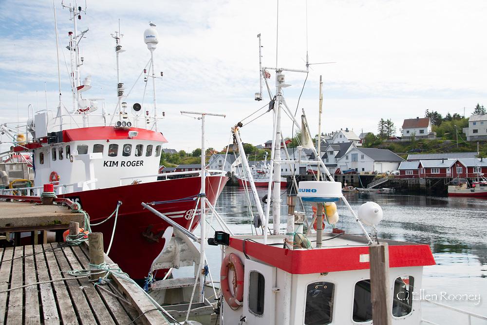 Large fishing boats docked in Sorgaven, Moskensoya, Lofoten Islands, Norway