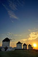 Windmills in Mykonos, Greece at sunset