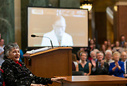 Wisconsin Supreme Court Justice Shirley Abrahamson reacts to a video delivered from U.S. Supreme Court Justice Ruth Bader Ginsburg during a celebration to honor Abrahamson on her retirement from the court. (Photo Andy Manis/University of Wisconsin Law School)