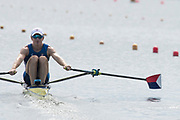 Poznan, POLAND, 21st June 2019, Friday, Morning Heats, USA. LM1X O'LEARY Matthew, FISA World Rowing Cup II, Malta Lake Course, © Peter SPURRIER/Intersport Images,<br /> <br /> 09:58:08