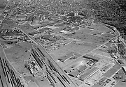 """Ackroyd 06803-1/7""""Commonwealth Inc. Aerials of NW district. Guilds Lake district. April 23, 1956"""" Intersection near center-foreground is NW Yeon & NW 35th Ave. Lower right is Sandberg Manufacturing Co. 3850 NW Yeon."""