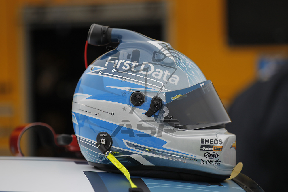 October 29, 2017 - Martinsville, Virginia, USA: Kyle Larson (42) helmet sits on his car before qualifying for the First Data 500 at Martinsville Speedway in Martinsville, Virginia.