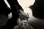 """Selected Print for the IN:SIGHT (Washington Green) New Artists Competition 2015<br /> <br /> International MONO Awards 2014 - Honourable Mention <br /> <br /> """"In the beginning there was just rock - and then water - black lifeless water. There were no plants or birds or trees just a planet in waiting.<br /> <br /> Dark water moves from ocean to gully, almost imperceptibly, and a woman takes tentative steps towards the light"""""""