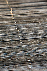 Wood planks and nails on platform at Cotton Belt Railroad Depot, Grapevine, Texas USA