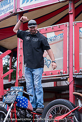 Final performance of the week for the California Hell Riders Wall Of Death at the Iron Horse Saloon during the 2015 Biketoberfest Rally on the final Sunday. Ormond Beach, FL, USA. October 18, 2015.  Photography ©2015 Michael Lichter.