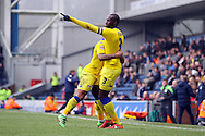 Souleymane Bamba of Leeds United (r) celebrates with his teammates after scoring his teams 1st goal. Skybet football league Championship match, Blackburn Rovers v Leeds United at Ewood Park in Blackburn, Lancs on Saturday 12th March 2016.<br /> pic by Chris Stading, Andrew Orchard sports photography.