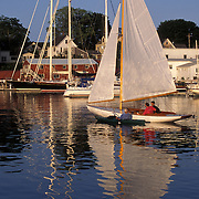 Sailboats in Camden Harbor Maine in Late Afternoon