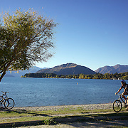 A biker cycles around a Lake Wanaka cycle track. Wanaka is  a year round destination set against the pristine alpine backdrop of Mount Aspiring National Park in Central Otago. South Island, New Zealand. 1st April 2011. Photo Tim Clayton..