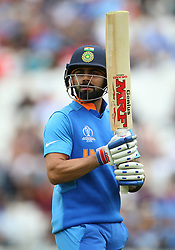 India's Virat Kohli after losing his wicket during the ICC Cricket World Cup Warm up match at The Oval, London.