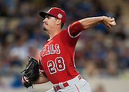 Angels' starter Andrew Heaney throws during the Angels' Freeway Series game against the Dodgers Thursday night at Dodger Stadium.<br /> <br /> ///ADDITIONAL INFO:   <br /> <br /> freeway.0401.kjs  ---  Photo by KEVIN SULLIVAN / Orange County Register  --  3/31/16<br /> <br /> The Los Angeles Angels take on the Los Angeles Dodgers at Dodger Stadium during the Freeway Series Thursday.<br /> <br /> <br />  3/31/16