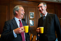 © Licensed to London News Pictures. 17/05/2016. London, UK. UKIP Leader NIGEL FARAGE and Conservative MP JACOB REES-MOGG speaking at a Bruges Group event, focusing on the issues surrounding the European Arrest Warrant at County Hall in London on Tuesday, 17 May 2016. Photo credit: Tolga Akmen/LNP