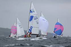 The Flying Dutchman World Championships,  Largs 2014. First days racing in breezy conditions on the Clyde. <br /> <br /> The former Olympic class has attract 40 worldwide competitors to Scotland to compete. <br /> <br /> GER12,  Ernst Greten,  Detlef Kruger<br /> PIctures Marc Turner / PFM Pictures