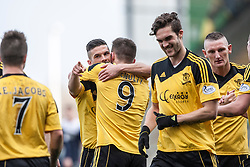 Livingston Mark McNulty (9) celebrates after scoring their first goal.<br /> Falkirk 1 v 1 Livingston, Scottish Championship game today at The Falkirk Stadium.<br /> © Michael Schofield.