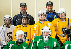 Anze Kopitar and Tomaz Razingar with young girls during practice at Hockey Academy of Anze Kopitar and Tomaz Razingar, on July 9, 2019 in Ice Hockey arena Bled, Slovenia. Photo by Vid Ponikvar / Sportida