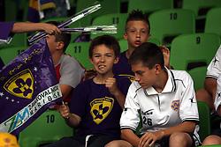 Young fans at last football match of PrvaLiga Telekom Slovenije between NK Maribor and NK Interblock, when Maribor became a Slovenian National Champion, on May 23, 2009, in Ljudski vrt, Maribor. (Photo by Marjan Kelner/Sportida)