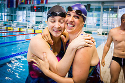 Anja Carman Cekic and Anja Klinar during her retirement in Olympic swimming pool Kranj, Kranj, on May 28. Photo by Ziga Zupan / Sportida